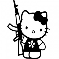 Hello Kitty ak 47 Rifle Vinyl Sticker for your wall, car or truck.