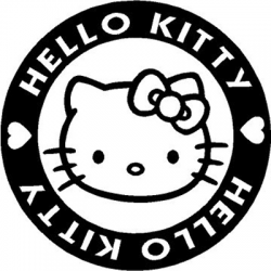 Hello Kitty Badge Vinyl Sticker for your wall, car or truck.