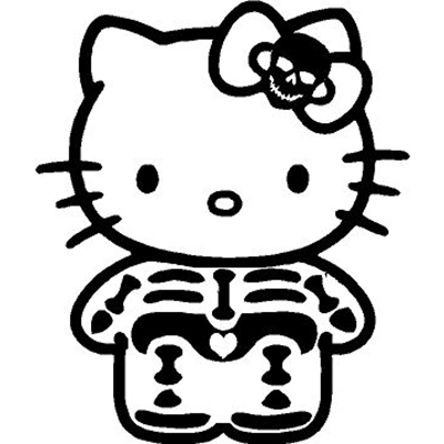 Hello Kitty Skeleton X-Ray Vinyl Sticker for your wall, car or truck.