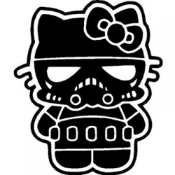 Hello Kitty Storm Trooper Vinyl Sticker for your wall, car or truck.