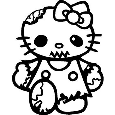 Hello Kitty Walking Dead Zombie Vinyl Sticker for your wall, car or truck.