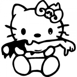 Hello Kitty Zombie Eating Arm Vinyl Sticker for your wall, car or truck.