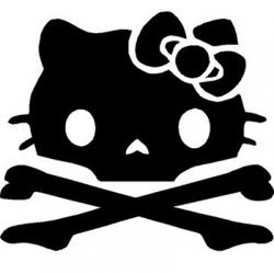 Hello Kitty Crossbones Skull Vinyl Sticker for your wall, car or truck.