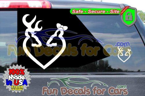 Buck Doe Heart Decals Hunting Deer Browning Vinyl Stickers Die Cut Bow