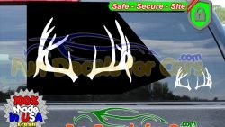 Deer Antlers Decal Hunting Rack Vinyl Die Cut Stickers