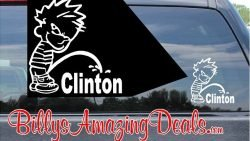 Calvin Pee on Clinton Vinyl Sticker Decal