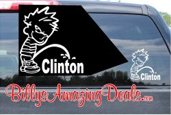 Calvin Pee on Clinton Vinyl Sticker Decal