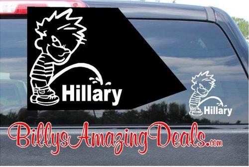 Calvin Pee on Hillary Vinyl Sticker Decal