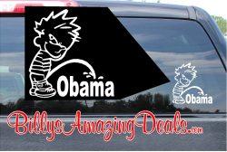 Calvin Pee on Obama Vinyl Sticker Decal