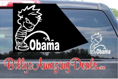 Calvin Pee on Obama Vinyl Sticker Decal