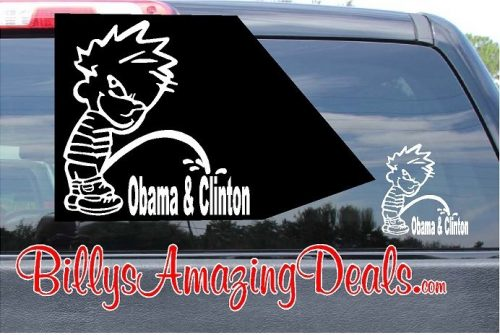 Calvin Pee on Obama and Clinton Vinyl Sticker Decal
