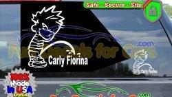 Calvin Peeing On Carly Fiorina Sticker Vinyl Die Cut Decal