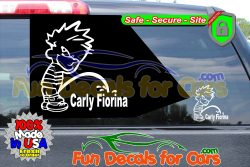 Calvin Peeing On Carly Fiorina Sticker Vinyl Die Cut Decal