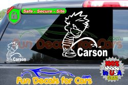Calvin Peeing On Carson Sticker Vinyl Die Cut Decal