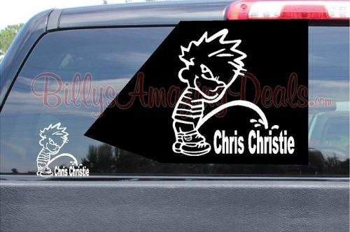 Calvin Peeing On Chris Christie Sticker Vinyl Decal