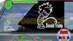 Calvin Pissing On Donald Trump Sticker Vinyl Die Cut Decal