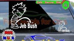 Calvin Peeing On Jeb Bush Sticker Vinyl Die Cut Sticker Decal