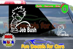 Calvin Peeing On Jeb Bush Sticker Vinyl Die Cut Sticker Decal