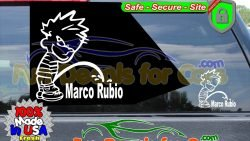 Calvin Peeing On Marco Rubio Sticker Vinyl Die Cut Decal