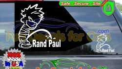 Calvin Peeing On Rand Paul Sticker Vinyl Die Cut Decal