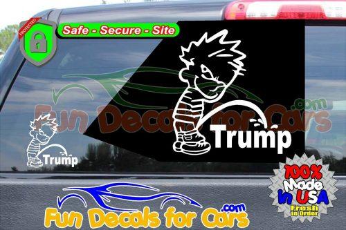 Calvin Peeing On Trump Sticker Vinyl Die Cut Decal