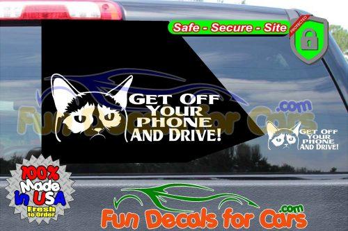 Grumpy Cat Get Off Phone Drive Decal Vinyl Funny Die Cut Stickers