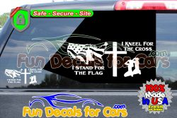 Stand For The Flag Kneel For The Cross Decal
